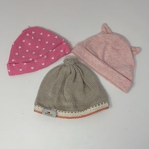Set of 3 girls infant beanie hats size 0-3 months
